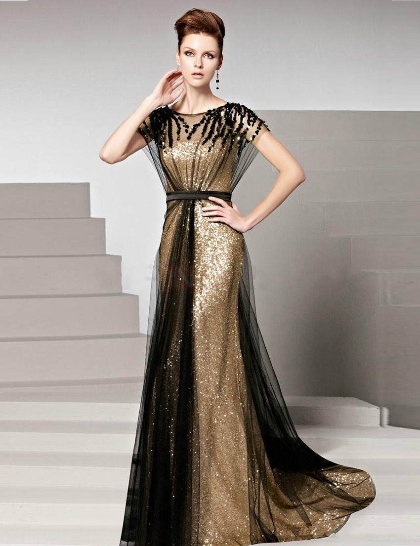 Black And Gold Mother Of The Bride Dresses