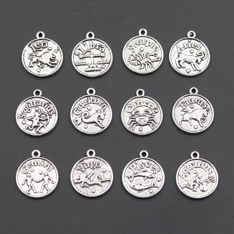 Charms Pisces Zodiac Vigro Aquarius Taurus Scorpio Capricron Gemini 20x17mm Antique Making Tibetan Bronze DIY Pendants
