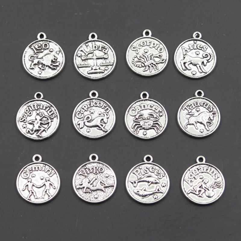 Подвески в виде знаков зодиака, Vigro, Водолей, Телец, Скорпион, козерон, близнецы 20x17 мм, античное производство, Подвески DIY