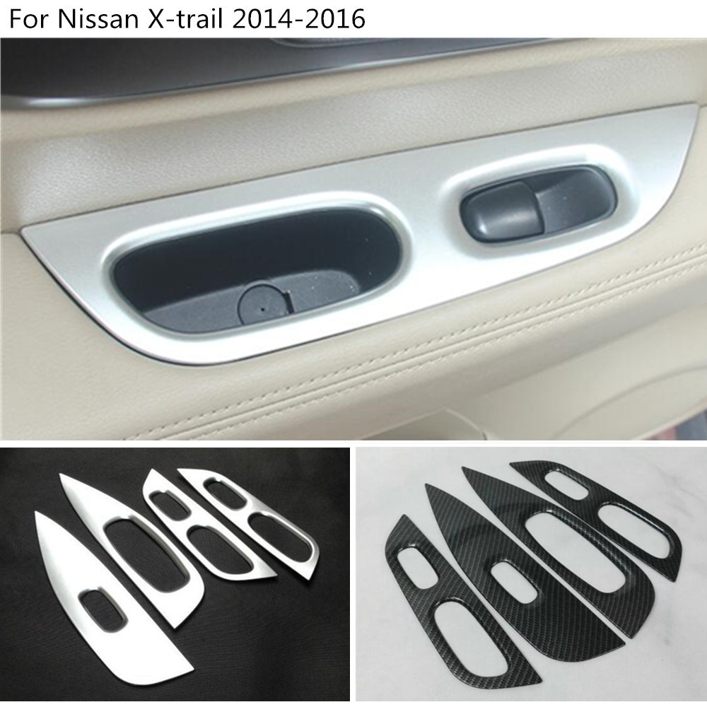 car body door Window glass panel Armrest Lift Switch Button trim frame 4pcs For Nissan X-trail xtrail T32/Rogue 2014 2015 2016 abs chrome door body side molding trim cover for nissan x trail x trial xtrail t32 2014 2015 2016 2017 car styling accessories