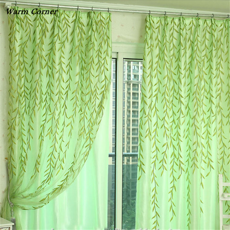 2017 LM  Willow Tulle Door Window Curtain Drape Panel Sheer Scarf Valances 100X200cm Free Shipping Sept 2