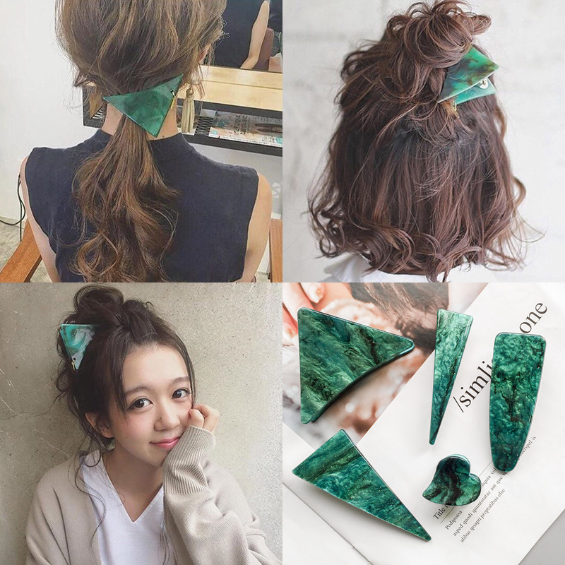 Women Geometric Hair Claws simple graceful Green Marble Acrylic Hair Crab Clips ladies Girls Make UP Clamps Accessories   Headwear