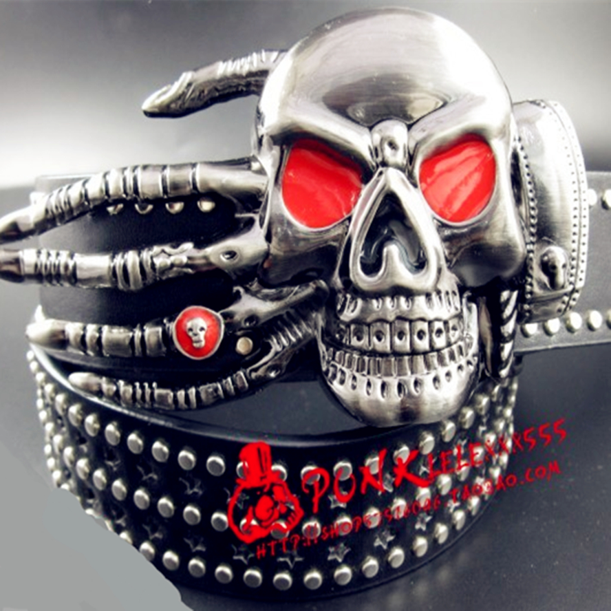 Fashion pria sabuk keling punk sabuk setan palm skull sabuk hantu keling tangan tren sabuk Hip hop Klub Malam liar gaya logam ...