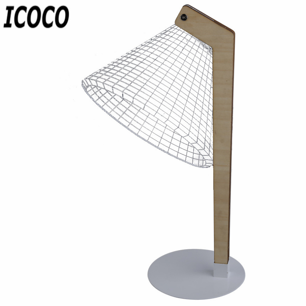 ICOCO 3D Creative Vision Lamp USB Charge Luminous Lampshades LED Table Lamp Bending/Small/Straight Type to Choose