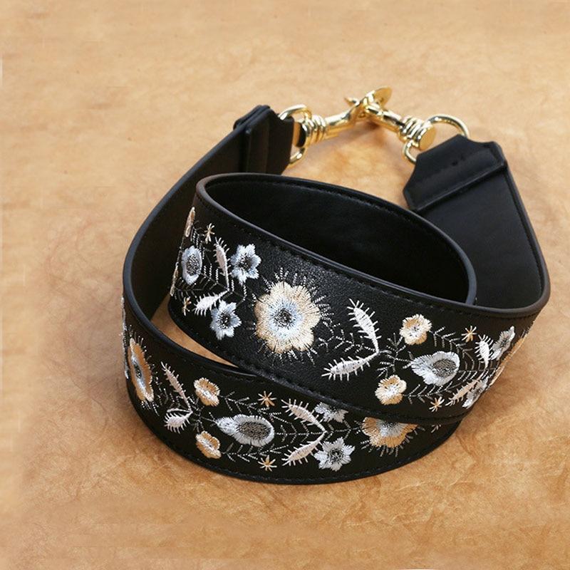 Fashion Embroidery 110cm Bag Straps Shoulder Belts Replacement Detachable Leather Crossbody Messener Bag Belts Purse Accessories