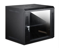 Wall Mount Rack Cabinet 9U With Cooling Fans In Black