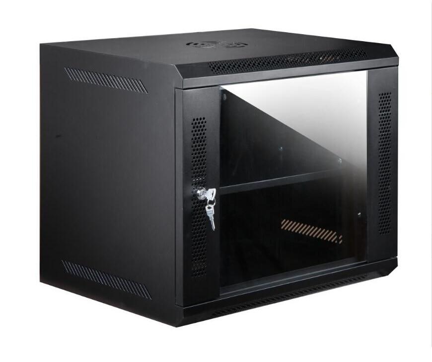 Шкаф настенный с креплениями для 9У с вентилятором в черный
