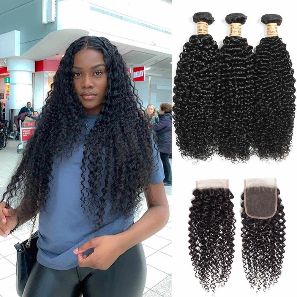 Kinky Curly Bundles With Closure 3 Bundles Human Hair With Closure Chic Crown Malaysian Mink Hair Weave 3 Bundles With Closure
