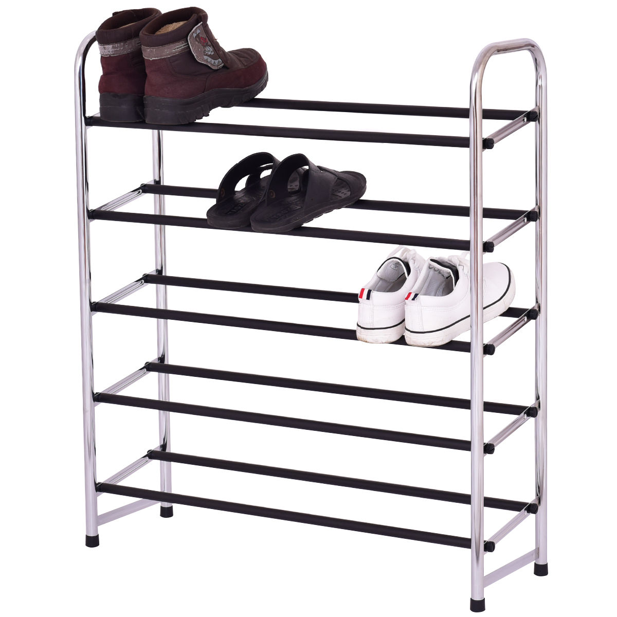 Giantex 5-Tier Mobile Shoe Rack Tower Living Room Storage Shelf Shoes Holder Organizer Modern Home Furniture HW55252 shoe rack nonwovens steel pipe 4 layers shoe cabinet easy assembled shelf storage organizer stand holder living room furniture