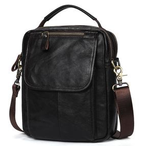 Image 3 - Real leather mens single shoulder/cross body bag top layer cowhide waxy leather mens bag.pinepoxp bag