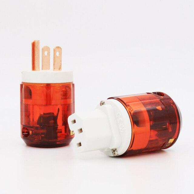 Free shipping 1 pair US plug P046+C046 Red Copper US AC Power Plug Audio Power Plug