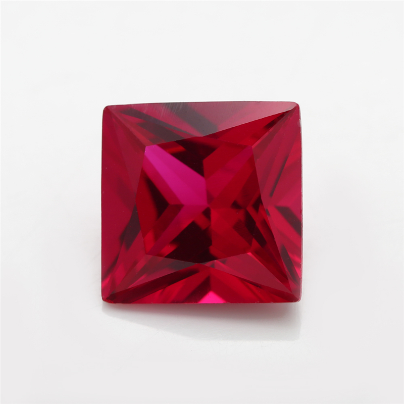 50PCS 3x3~10x10mm Square Shape Loose Stone Red stone synthetic corundum for jewelry 5# color Machine Cut