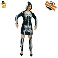 DSPLAY New Style Women's Skeleton Ghost Halloween Costume Adult Fancy Dress Scary Cosplay Costumes