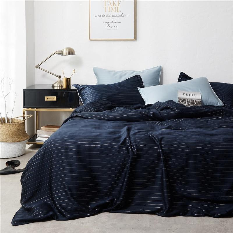 tencel cotton duvet cover bed sheets 4pcs solid color bed linen roupas de cama stripe fashion bedding sets drap de lit bed cover