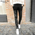 2017 New Arrive Men's Skinny Leather Pants Casual Fashion Denim stitching Cool Jeans Size:28-34 Free Shipping 1056