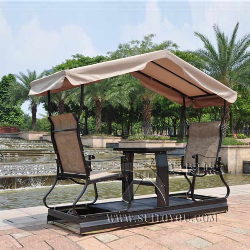 Moderne extérieur 2 siège balançoire chaise droite gauche mobile pour adultes mobilier d'extérieur hamac avec auvent
