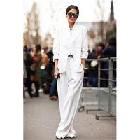 Пружина под заказ и Новинка осени горячих женщин костюм из двух Костюм из нескольких предметов (куртка + Штаны) женские белые деловой строги