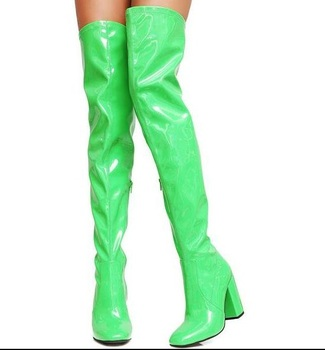 Spring New Hot Woman Fluorescence Green/pink/gray/yellow/black Candy Color Round Toe Zip Patent Leather Pu Over The Knee Boots