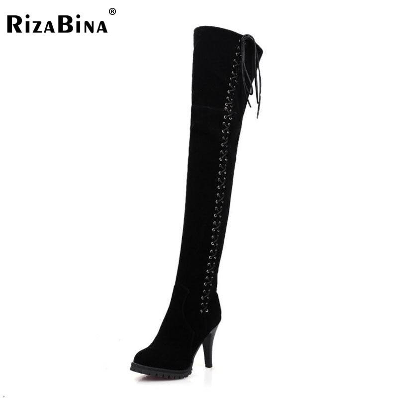 цены на RizaBina Size 34-45 Women Over Knee Boots Cross Strap High Heel Boots Thick Fur Shoes Winter Botas Long Boots Women Footwears в интернет-магазинах