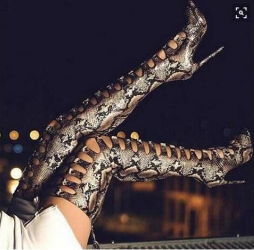 Aiguilles En À As Le Ouvert Femmes Picture Cuissardes Python Robe Sexy Bout Sur Freeship Lacets Serpent De Talons Cuir Peau Bouvier Bottes Genou Imprimé BqXqSP6