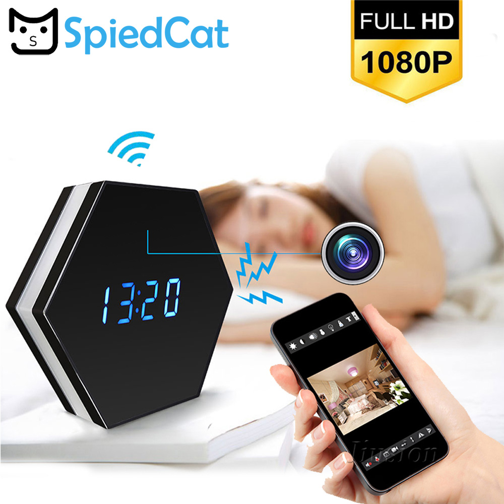 HD 1080P Wifi Wireless Mini Camera Clock Smart Mirror Clock IP Night Vision Two Way Audio
