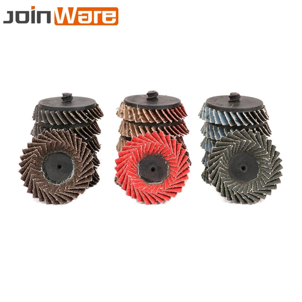 10pcs 2/'/' inch 60 Grit Flap Sanding Disc Wheels R Fits Threaded Twist Lock Set
