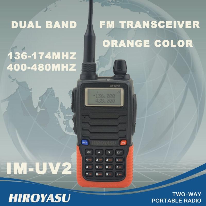 HIROYASU Orange Color IM-UV2 136-174MHz & UHF400-480MHz Dual Band 5W/3W 128CH FM 65-108MHz Portable Two-way Radio FM Transceiver