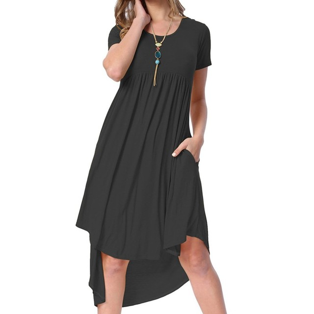 967450bda4f1bb YSMARKET 2017 vestidos summer jersey dresses mid calf work office clothes  casual swing dress pattern high low pleated H220045