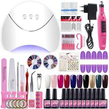 COSCELIA 36W Lamp Sets For Manicure 10Pcs Gel Nail Polish Set Kit Varnish Tools