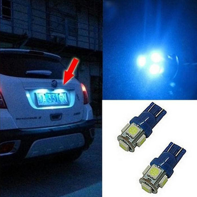 2Pcs/Set DC 12V Blue 5 LED Car License Plate Light Lamp Bulbs Number Plate