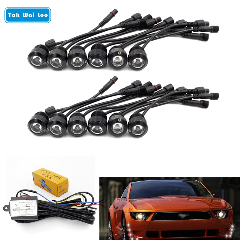 Tak Wai Lee 12Pcs/Set LED DRL Daytime Running Light Car Styling Turn Steering Eagle Eyes Relay Harness On/Off With Controller