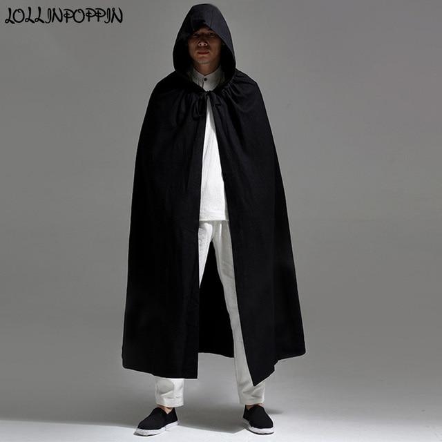Men Hooded Cloak Long Style Trench Jacket Linen Coat Open Placket Halloween  Costumes Mens Cape Black 6a2f6273d