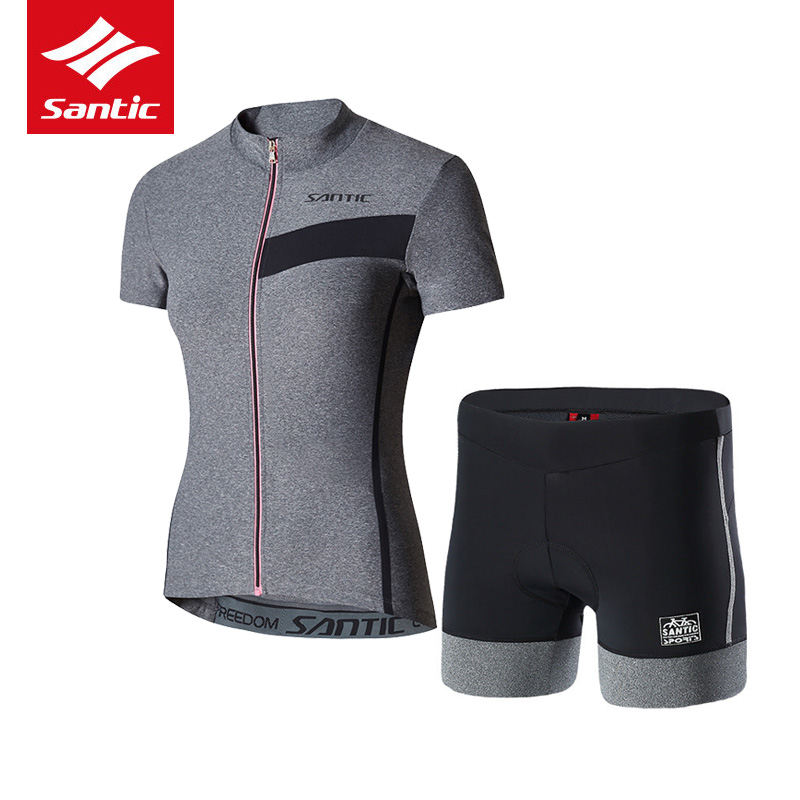 цена на Santic Women Cycling Jersey Set Pro Team Summer Mountain Road Bike Jersey 4D Pad Breathable Comfortable Cycling Clothing Set
