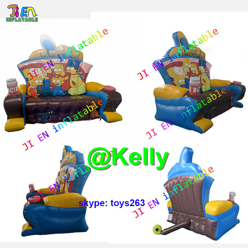 Inflatable Kids Birthday Chair: Free Shipping Cartoon Printing Inflatable Throne Chair For