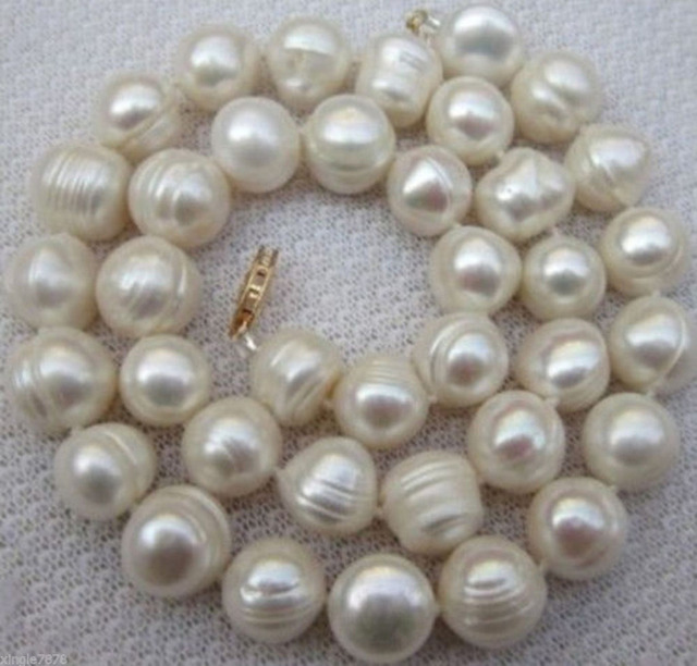 Natural 9-10MM WHITE SOUTH SEA BAROQUE PEARL NECKLACE 18INCHES