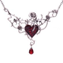 Vintage Garden Flower Statement Necklace For Women Halloween Gothic Punk Red Blood Heart Choker Jewelry Steampunk
