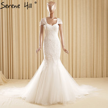 Sleeveless Sexy White Mermaid Tulle Wedding Dresses Embroidery Pearls Fashion Bridal Gown Robe De Mariee 2017 Real Photo