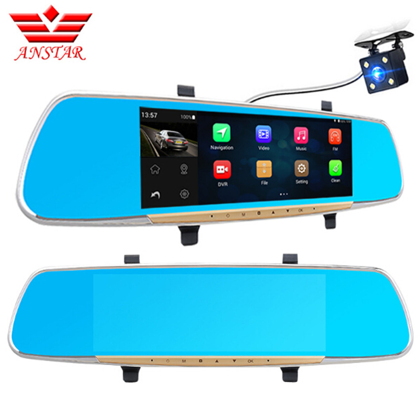 ANSTAR 6.86 Inch Car DVR Dual Camera IPS Touch FHD 1080P Android 4.4 GPS Navigation WIFI Dash Cam Rearview Mirror Video Recorder