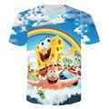 ISTider Bonito Personagens de Desenhos Animados Bob Esponja Patrick T-Shirt Rainbow da Luz Do Sol Impresso Tees Top Das Mulheres Dos Homens de Verão 3D Camisa Engraçada de T