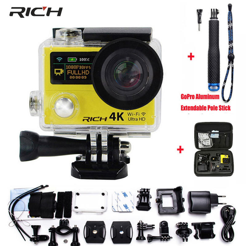 Action Camera H3 H3R Dual Screen Ultra HD Wifi 4K/25fps 1080p 170D Lens go pro Style Waterproof Extreme Sports camera dual screen lcd ultra hd wifi sports action waterproof camera 4k 25fps 12mp