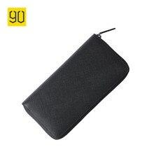 90 Punkte Echtem Leder Geldbörse Xiaomi Brieftasche Hohe Qualität Multi-card-bit Lange Brieftasche Rindsleder Schwarz Reißverschluss Männer kupplungen