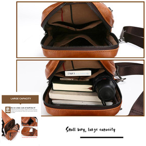 Image 5 - JEEP BULUO Big Brand Mans Chest Bag Fashion Men Leather Crossbody Sling Bags For Young Man Teenagers Students New Causual Cool