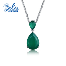 Bolaijewelry,classic pendant necklace natural agate gemstone fine jewelry for women anniversary party or daily wear best gift.
