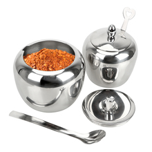 NICEYARD Stainless Steel With Lid and Spoon Apple Sugar Bowl Condiment Pot Seasoning Jar Tableware Spice Container