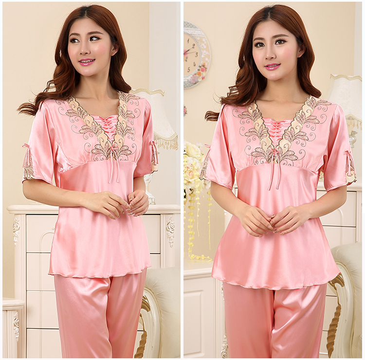 d17d598f23 2019 New Style Faux Silk Pajamas Pijama Set 2018 Summer Home Wear ...