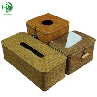 Creative Sea Grass Tissue Box Cover Handmade Straw Paper Towel Crafts Weaving Napkin Holder For Home