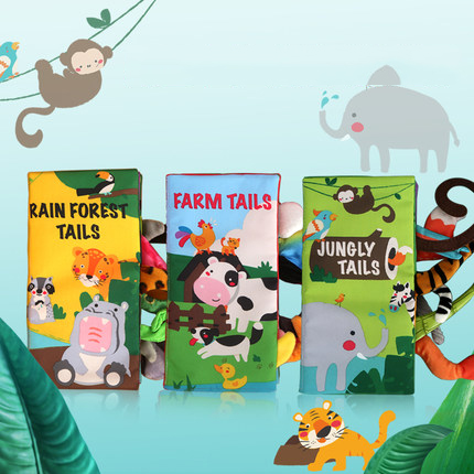 Image 2 - Beiens Infant 3 Style Baby Cloth Books Early Learning Educational Toys with Animals Tails Soft Cloth Development Books Rattles