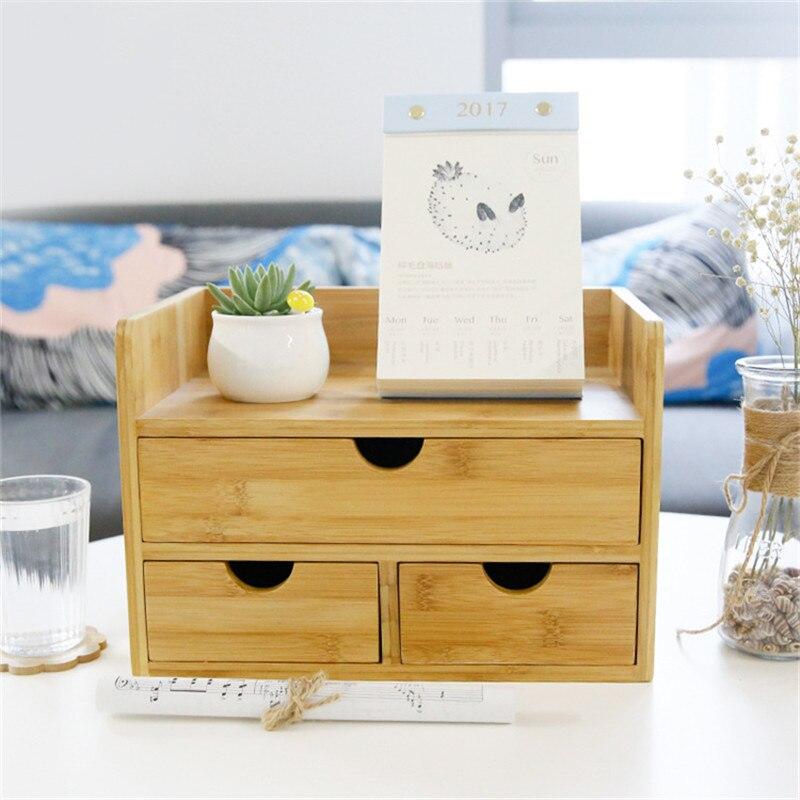 Boîte de rangement de décor domestique tiroir bois organisateur cosmétique tiroirs de maquillage bijoux papeterie boîtes de rangement d'admission - 5