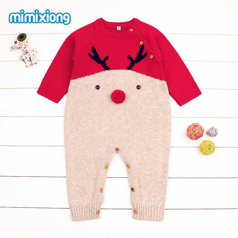 Babies Christmas Reindeer Romper z długim rękawem Nowonarodzone - Odzież dla niemowląt - Zdjęcie 4