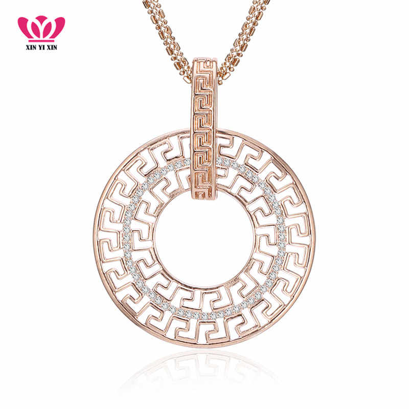 Geometric Round Circle Necklace & Pendant Full CZ Crystal 3 Colors Long Chains collar For Party mujer Jewelry EU dropshipping